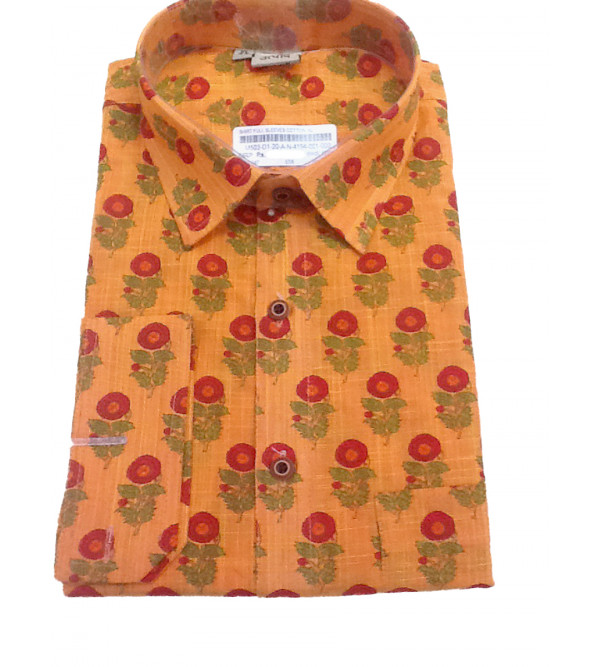 Cotton Printed Shirt Full Sleeve Size 44 Inch