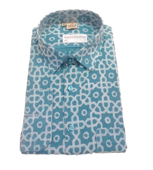 Akola Printed Shirt Handloom Full Sleeve Size 44 Inch