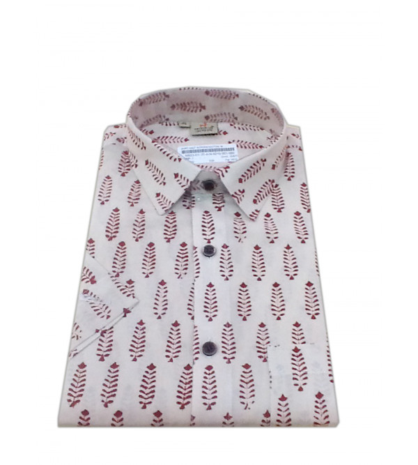 Printed Cotton Shirt Half Sleeve Size 40 Inch