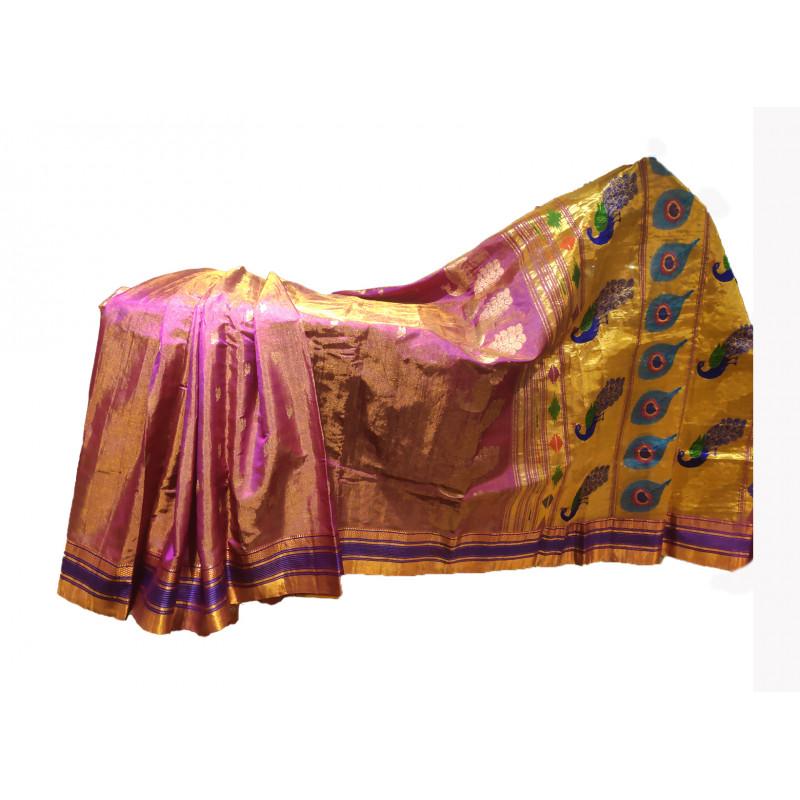 Paithni Pure Silk Handwoven Handloom Saree With Blouse