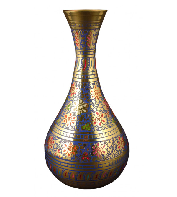 8 INCH BOTTLE FLOWER VASE BRASS ENAMEL  COLOUR