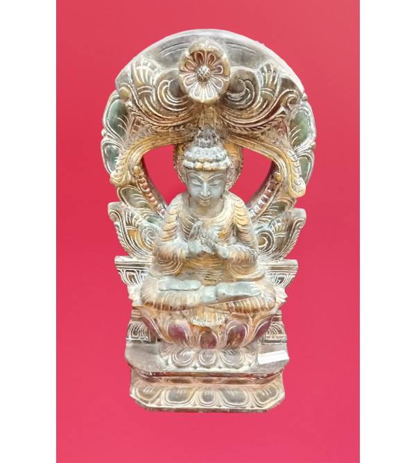Buddha Distressed Handcrafted In Vaghai Wood Size 24 Inches