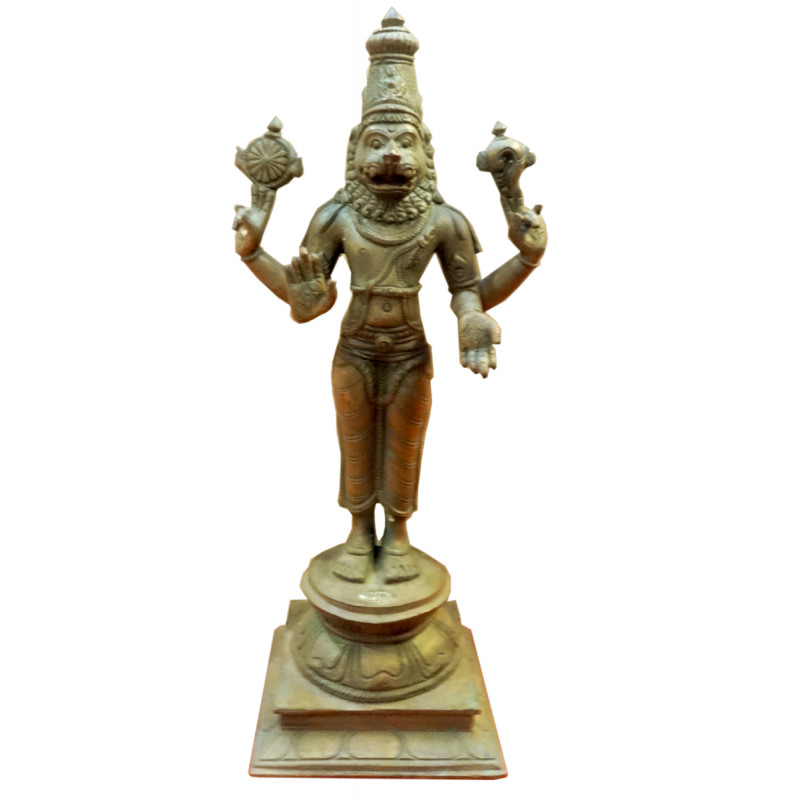 Narasimha Avatharam Handcrafted In Bronze Size 9 Inches