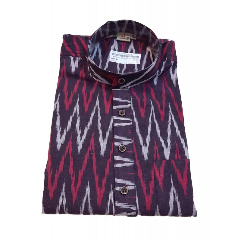 Cotton Ikat Long Kurta Handloom Full Sleeve Size 44 Inch