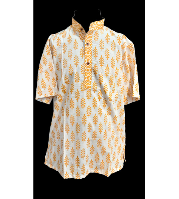 Printed Cotton Short Kurta Half Sleeve Size 38 Inch
