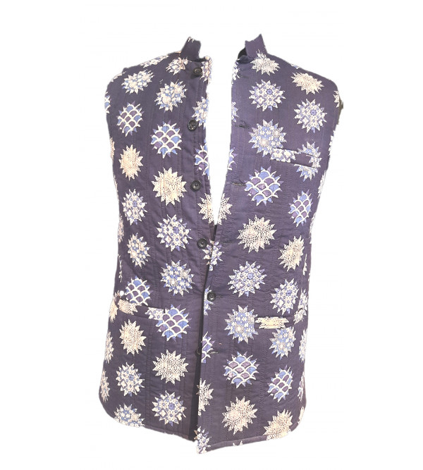 Printed Cotton Nehru Jacket size 38 Inch