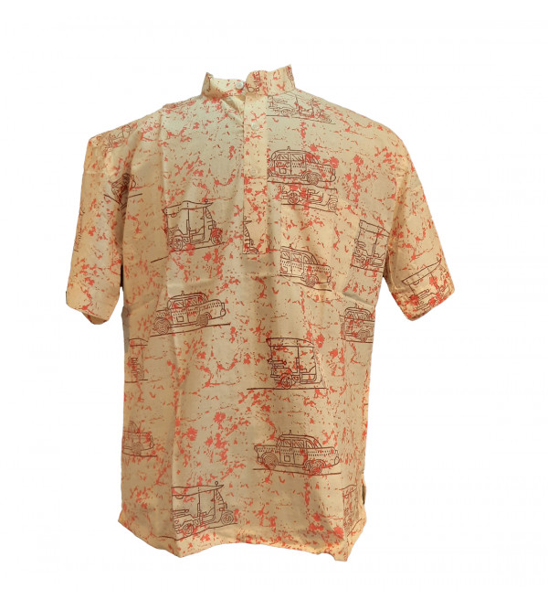Printed Cotton Short Kurta Half Sleeve Size 44 Inch