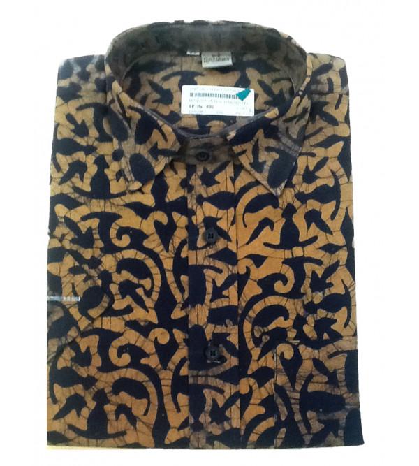 Batik Printed Shirt Handloom Half Sleeve Size 38 Inch
