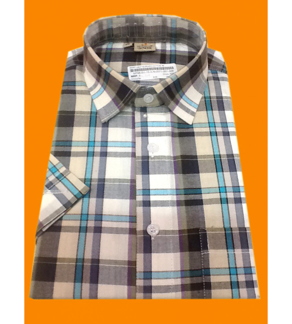 Cotton Check Shirt Half Sleeve Size 40 Inch