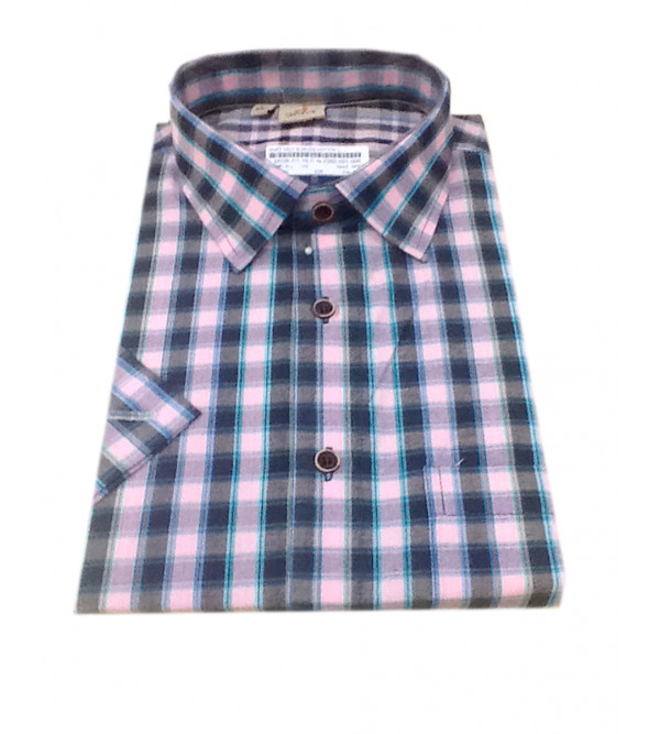 Cotton Check Shirt Half Sleeve Size 42 Inch