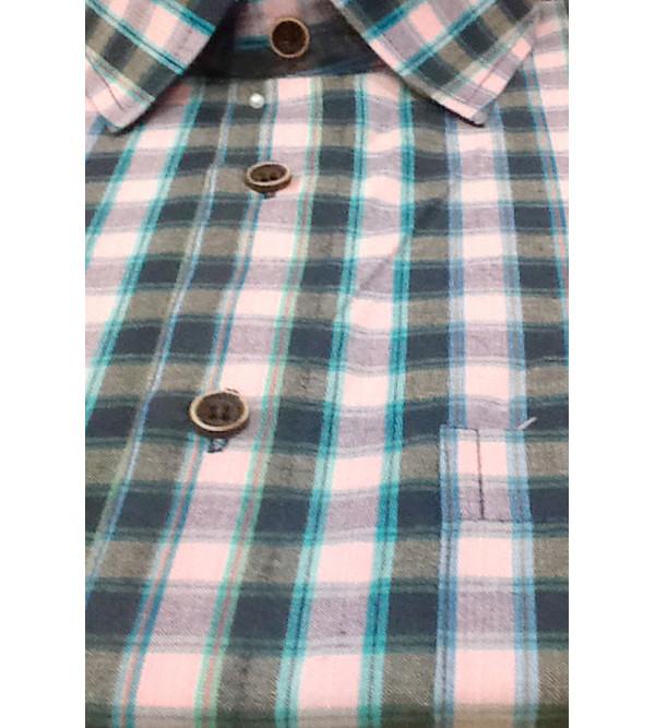 Cotton Check Shirt Half Sleeve Size 42 Inch