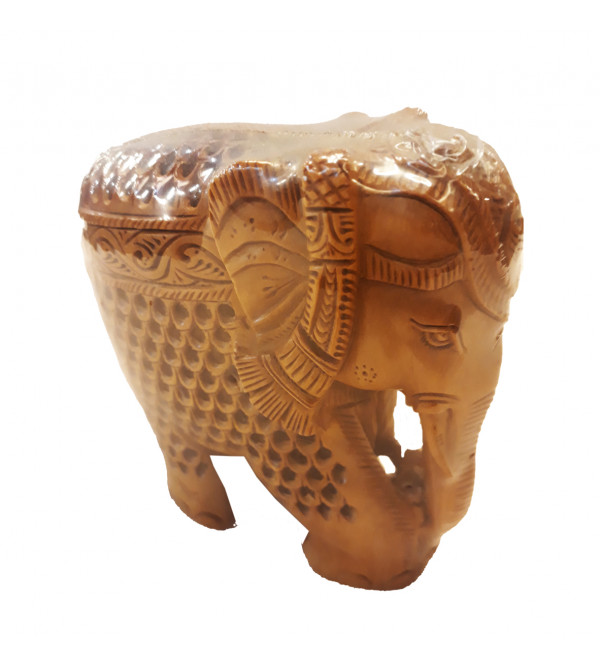 Sandalwood Handcrafted Carved Elephant with Baby Elephant ( Jaali Work )