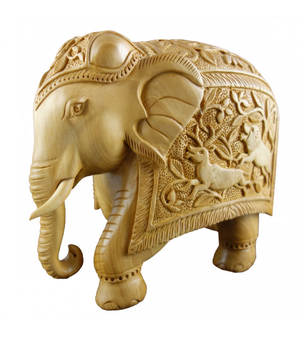ELEPHANT CARVED 6 INCH  KADAM WOOD