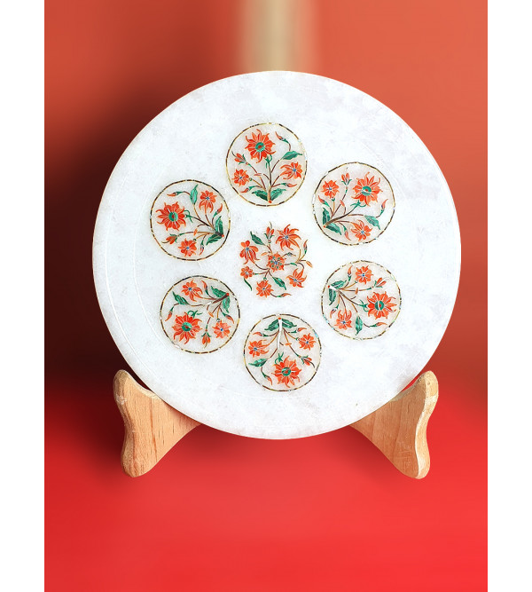 Marble Plates with Semi-Precious Stone Inlay Work Size 8 Inch