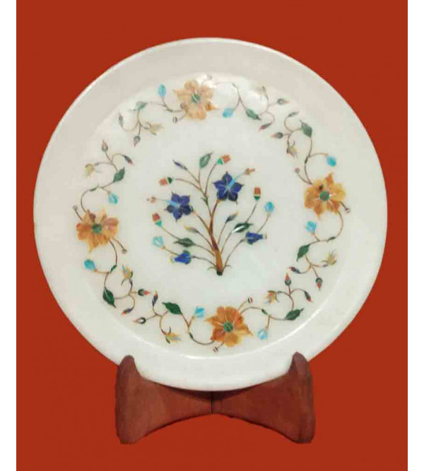 Marble Plate with Semi-Precious Stone Inlay Work Size 8 Inch