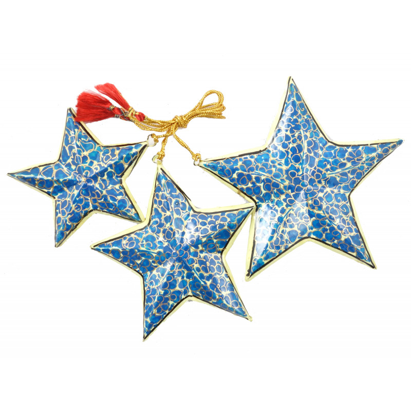 Papier Mache Handcrafted Star Set for Christmas Decorations