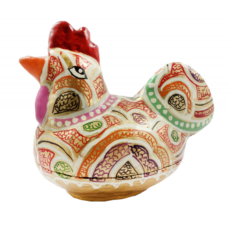 HANDICRAFT ASSORTED HEN BOX  PAPER MACHE 3 INCH