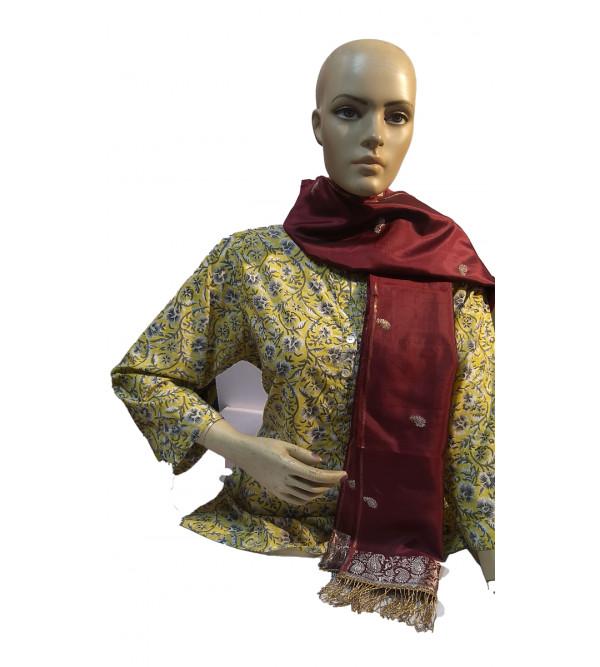 Banaras Silk Stole With Zari Work And Tassel Size 20x70 Inch
