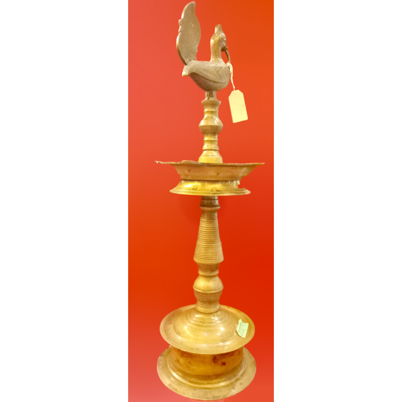 Oil Lamp Handcrafted In Brass Size 30 Inches