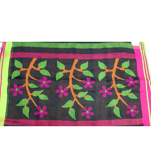 SAREE LINEN 6.5 MTR JAMDANI WORK AT PALLU
