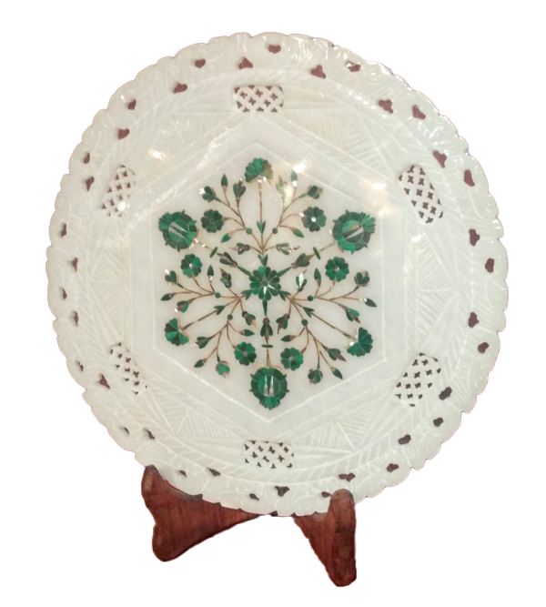 Alabaster Plate With Semi-Precious Stone Inlay Work Size 9 Inch