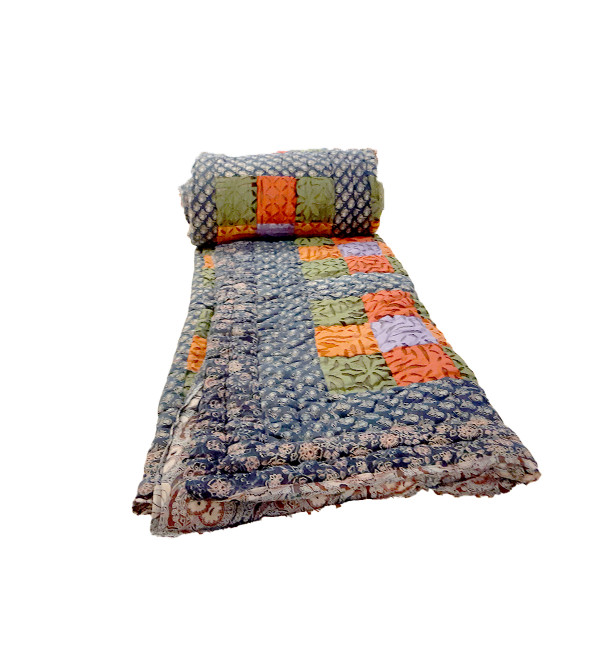 Cotton Hand Block Printed Quilt Size 90x108 Inch