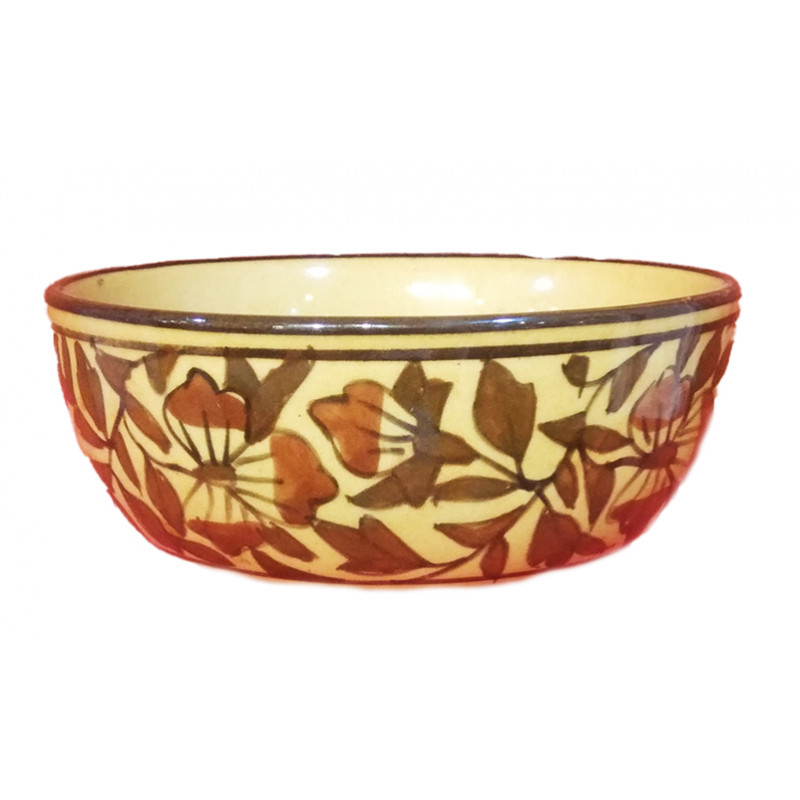 Khurja Pottery Bowl With Soup Spoon Size 5 Inch