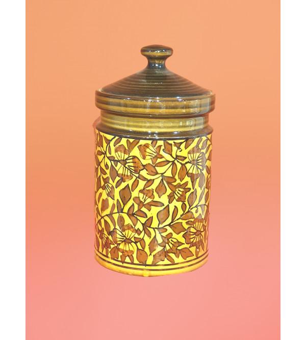 Handcrafted Khurja Pottery Jar 7.5 Inch