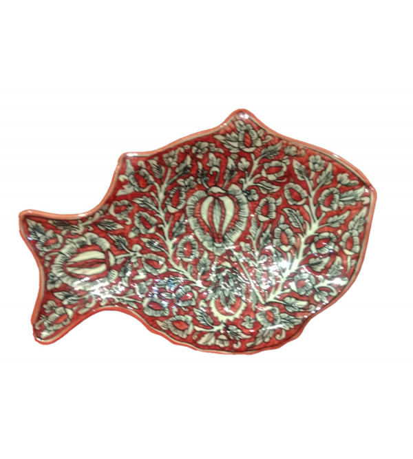 Blue Pottery Fish Impression Plate Size 11x 5.5 Inch