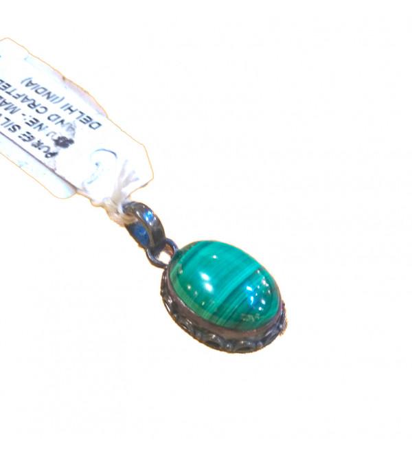 Melakaite stone with silver