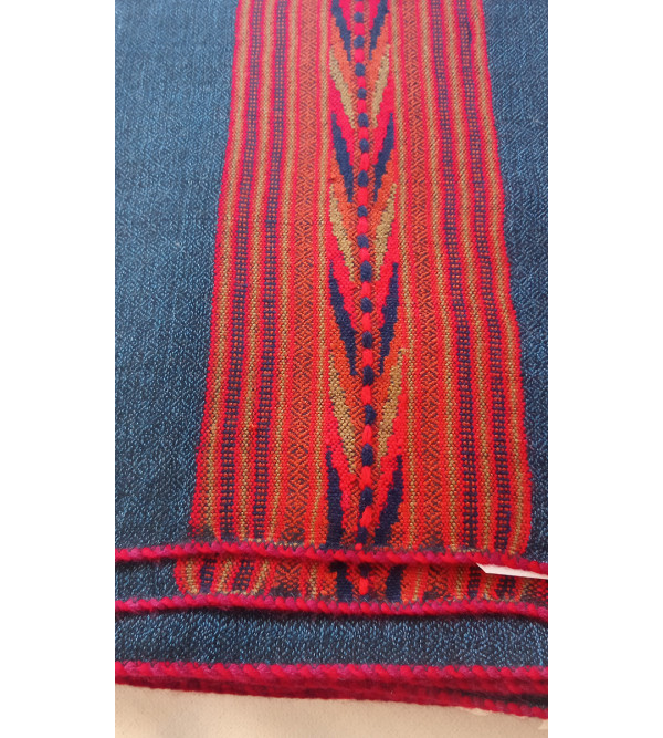Kullu Woollen Stole With Broad Border Handwoven In Himachal Pradesh Size, 28x80 Inch