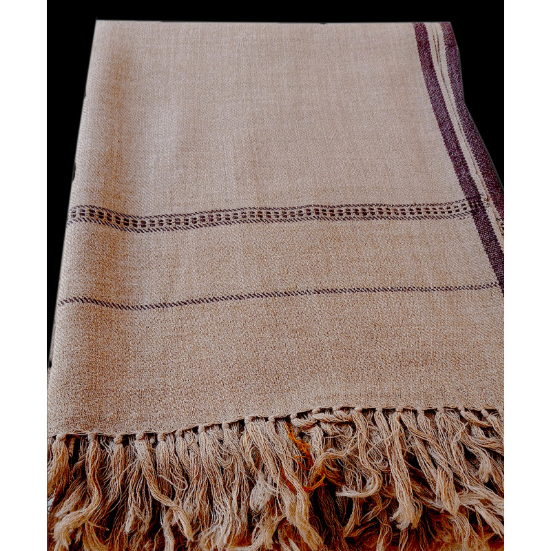 Kullu Woollen Gents Shawl  With Small Border Handwoven In Himachal Pradesh Size, 46x49 Inch
