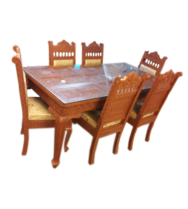 BARMER CARVED DINING SET 7 PIECES