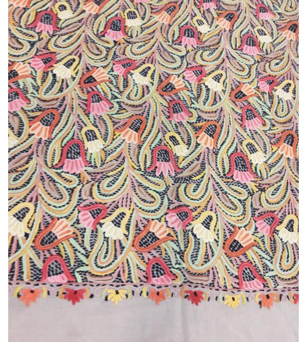 Woollen Stole Machine  Embroidered in Kashmir Size,28X80 Inch