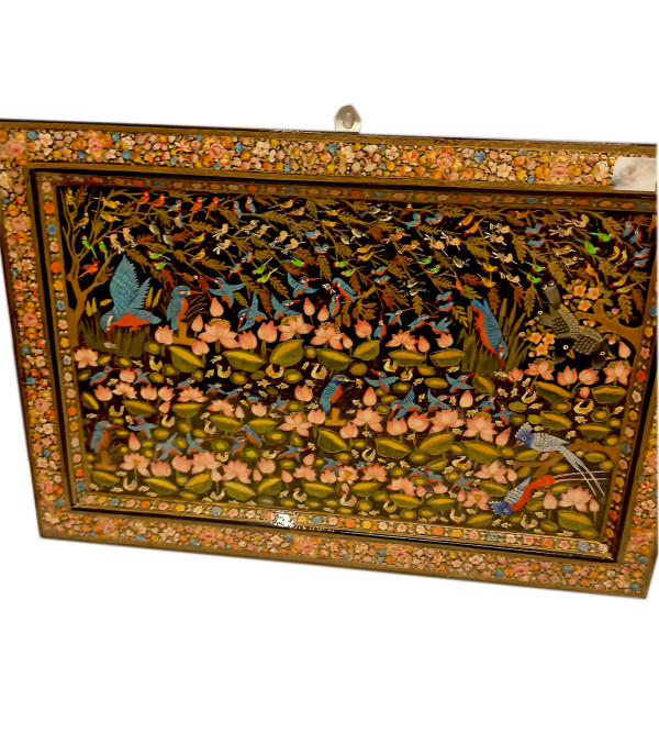 Hand painted wall panel made be the artisans of Kashmir depicting the flora and fauna of the valley size 18x10inches