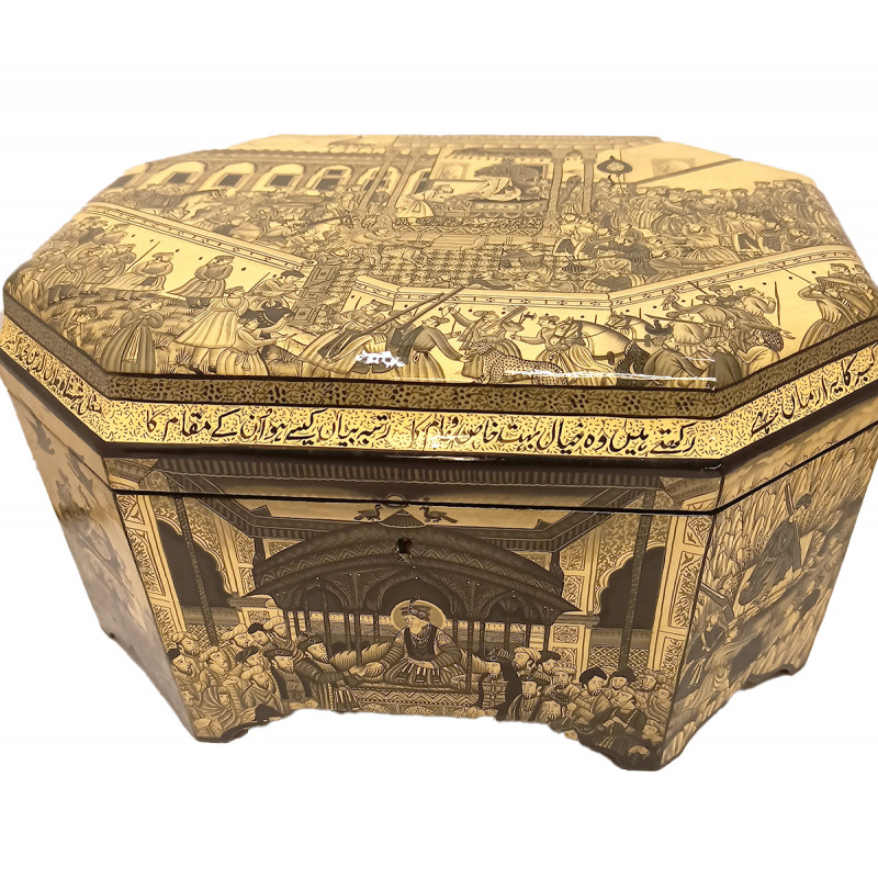 Papier Mache Handcrafted Jewellery Box with Mughal Miniature Painting