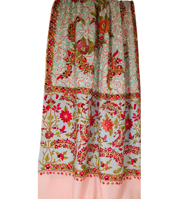 Pure Woollen Ari Stole Jama Heavy and Embroidery All Over 28 X80 Inch