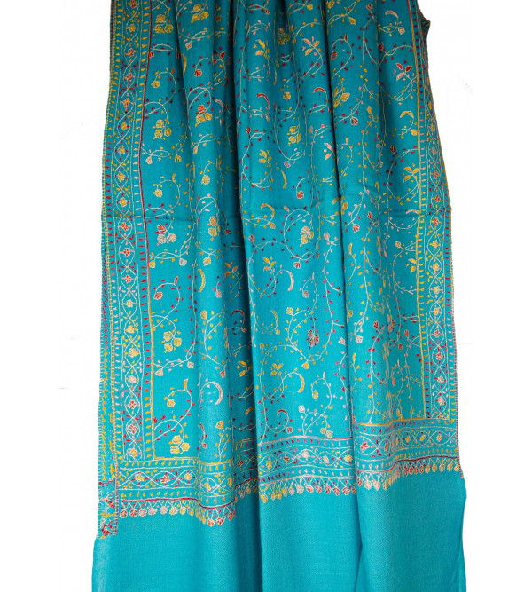 Semi Pashmina Shawl Fine Needle Work  Size 40 X80 Inch