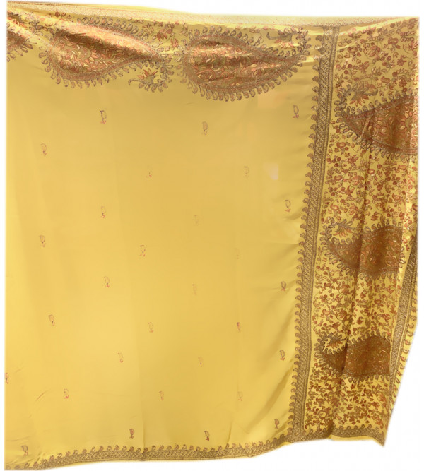 Kashmiri Embroidered Georgette  Silk Saree  With Blouse