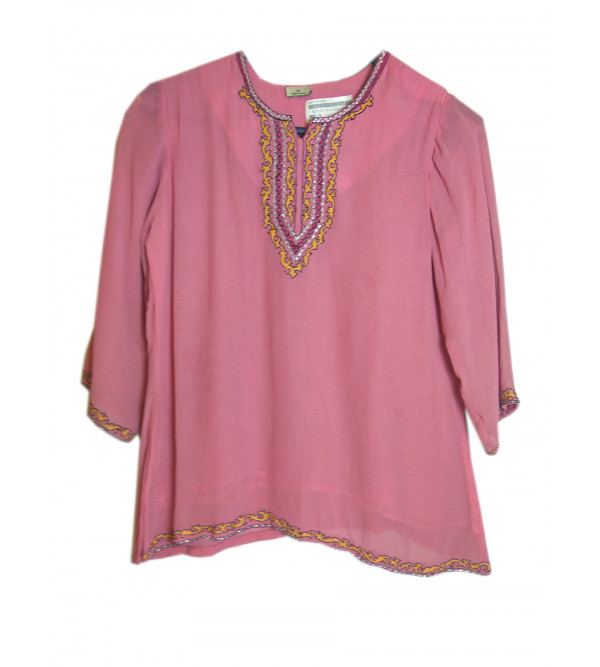Crepe   Silk  Embroidery  Kurta Top For Girls Size 6 to 8 Yr