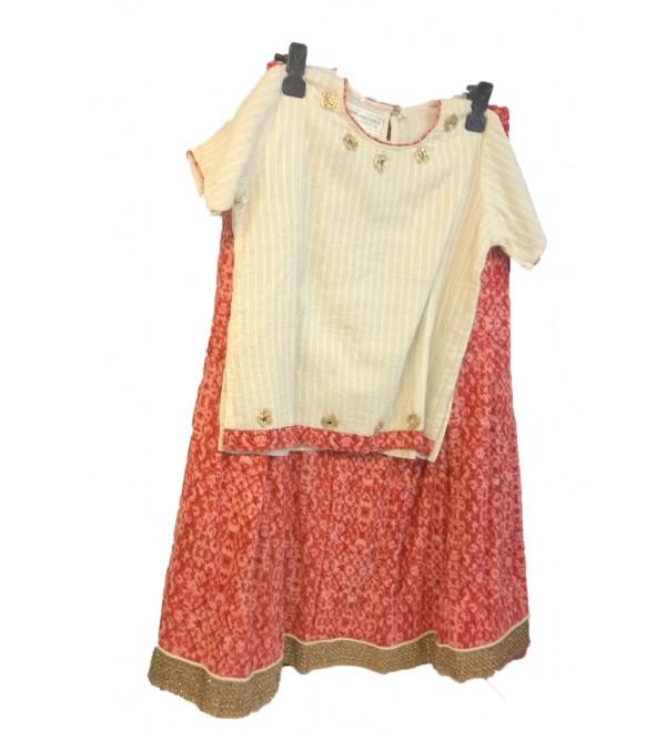 Cotton Lehenga Choli Set Size 4 To 6 Year