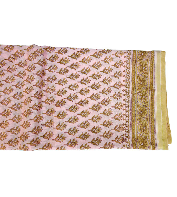 SAREE CHANDERI PAINTED 6.4 MTR 50-50 SILK COTTON ASSORTED COLOR AND BLOCK