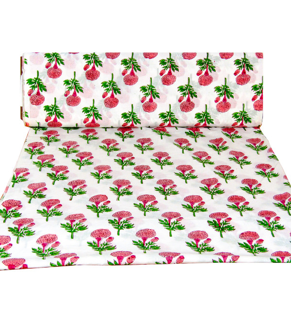 Cotton Hand Block Bagh Printed 44 Inch Widht Fabric