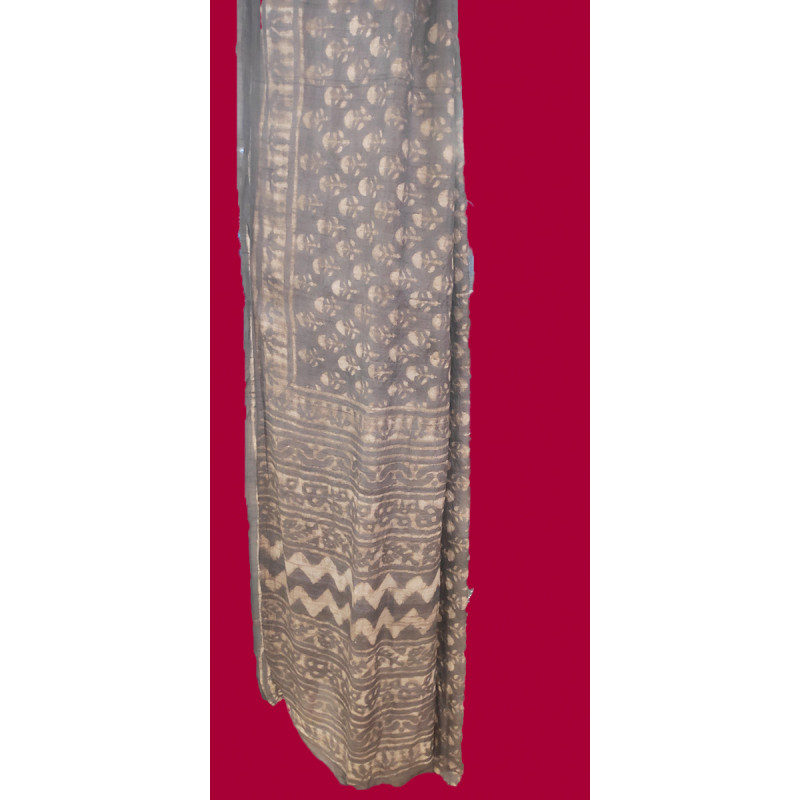 Tussar Silk Printed Handwoven Saree With Blouse