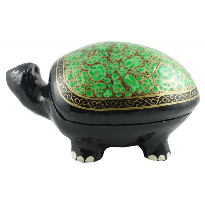 PAPER MACHE 5 INCH BOX TORTOISE ASSORTED COLOR AND DESING