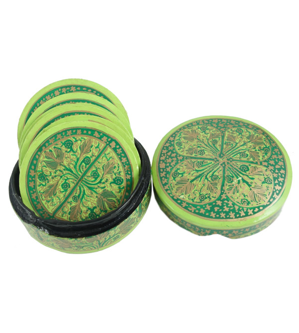 PAPER MACHE COASTER SET 7 Pcs ROUND SHAPE ASSORTED COLOR
