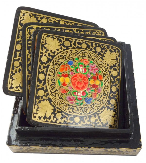 HANDICRAFT PAPER MACHIE ASSORTED Coaster 7 Pcs Set Square