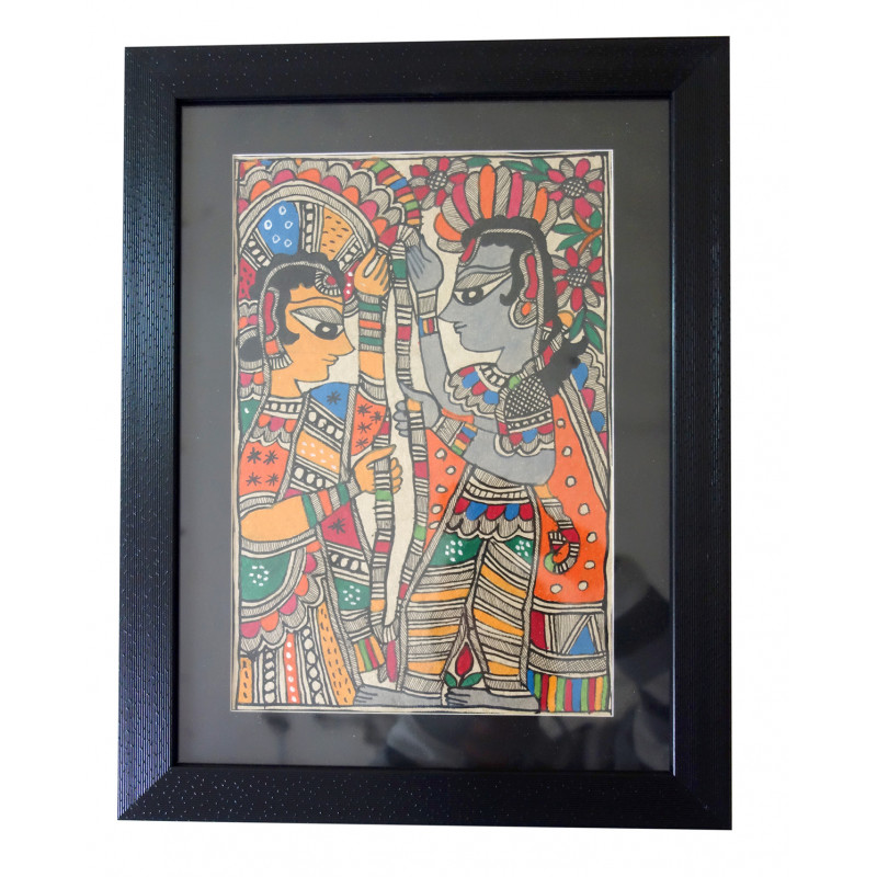 HANDICRAFT ASSORTED MADHUBANI PAINTING 11X8 INCH WATER COLOUR WITH FRAME