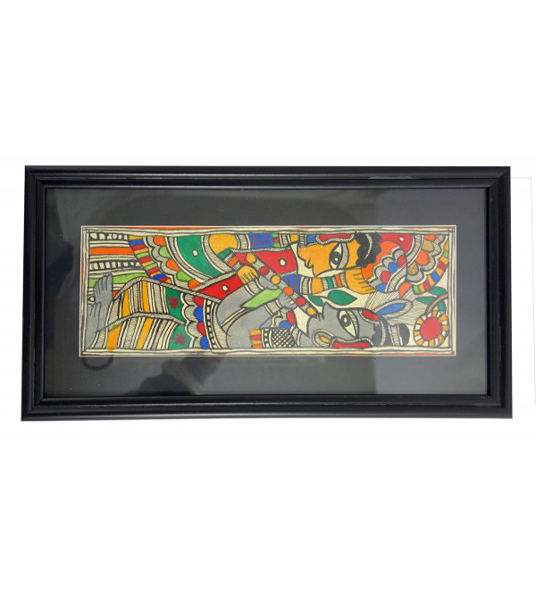 HANDICRAFT ASSORTED MADHUBANI PAINTING 11X4 INCH WATER COLOUR WITH FRAME