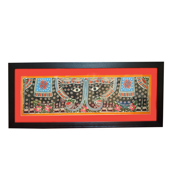Handmade Assorted Madhubani Painting 8x22 Inch Water Colour with Frame